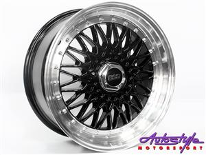 BBS SIMILAR LOOK- 15 inch BSS 5-100 and 5-114 Black Alloy Wheels