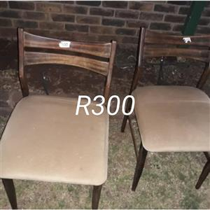 Wooden suede top chairs