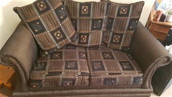 Black and brown upholstered lounge set
