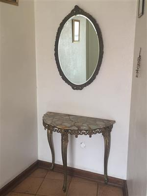 Halfmoon table and mirror for sale