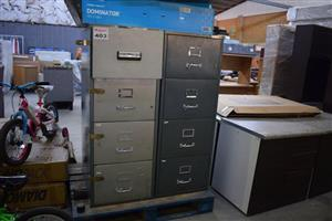 Light and dark grey filing cabinets