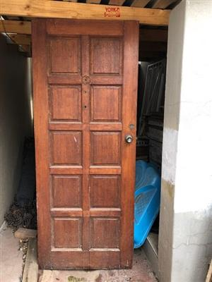 Second hand Meranti Door, Door Frame AND Top Hung Window Frame. Sold as a lot