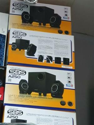 Brand New Boxed, Sealed ,Creative SBS A250 Speakers with impressive base