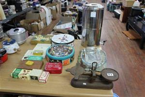 Bins,books and old scale for sale
