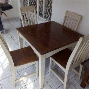 Two tone kitchen table with 4 chairs