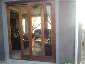 Wooden sliding doors.