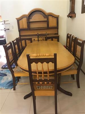 Yellowwood and Imbuia Diningroom Table, Chairs and wall unit