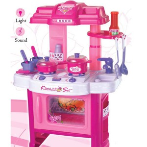 Girl's Kitchen; Beautiful Kitchen Play Set with Light and Sound!
