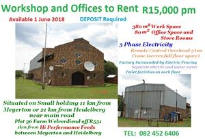 Workshop and Offices to Rent R15,000