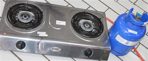 2 plate stove with gas bottle S033192a #Rosettenville[awnshop