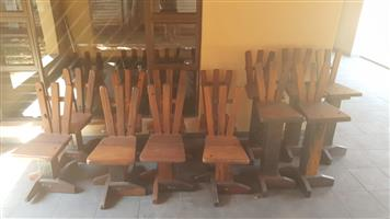 8 Seater wooden Table with chairs and 5 bar chairs