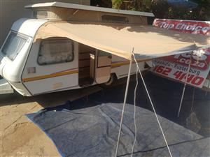 Rally Tent with poles coming from 1986 Sprite Sport,should fit most Sprite caravans of that era.