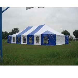 7x17m Pole Tent White and Blue