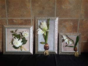 Framed  Wall Flower set of (3)