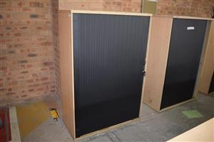 Light wooden,black sliding door cupboards