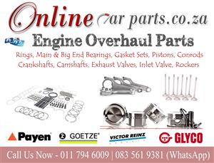 High Quality Engine Overhaul Parts Rings, Main & Big End Bearings, Gasket Sets, Pistons, Conrods, Crankshafts, Camshafts, Exhaust Valves, Inlet Valve, Rockers