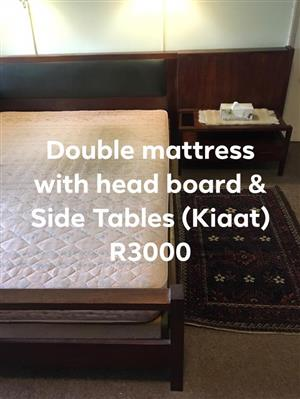 Kiaat Wood Bed Base with mattress /headboard & side tables