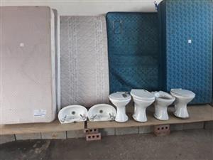 Toilets,basins and mattresses