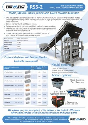 Brick making machine static manual with mixer 350 litre and conveyer Value, big profits