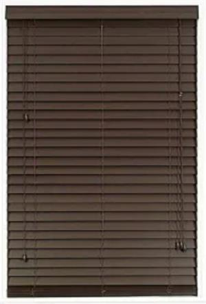 2 sets of brown horizontal wooden blinds, 143 cm wide x 90 cm tall