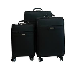 Hazlo 3 Piece PU Leather Trolley Luggage Bag Set - Black