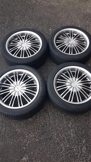 BMW Mag Rims and Tyres 225.45R17 for sale.