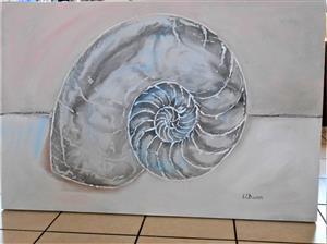 Large painting of a Nautilus shell