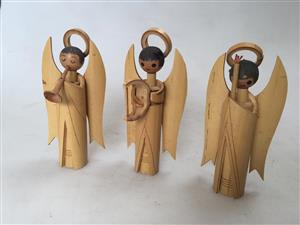 Set of 3 Miniature bamboo Angels - playing a harp & flute
