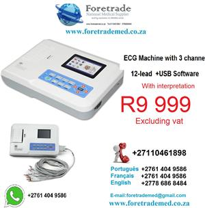 ECG MACHINE with 3channels 12 leads+usb sofware with interpretation for only R9.999
