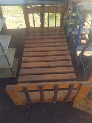 Wooden pallet single bed frame