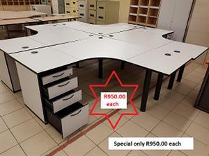 L-shape desks + pedestal on SPECIAL NOW ONLY R950.00 each