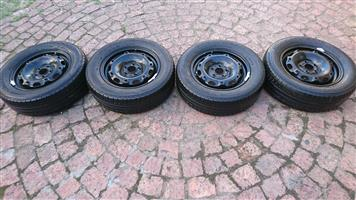14 Inch Steel Wheels+Tyres For Sale-Pcd-5x100