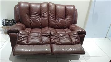 Genuine leather brown reclining sofas