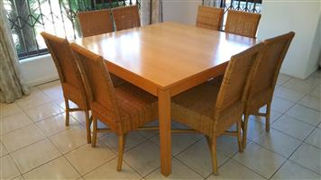 Dining Room Suite With 8x Woven / Rattan Chairs In Excellent Condition!!. Take It For Only R7500!!