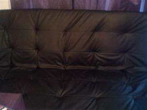 Black Leather Double Sleeper Couch