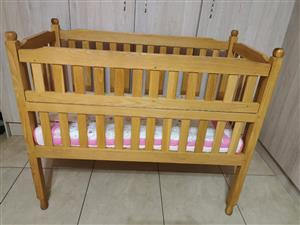 Oak Cot with mattress