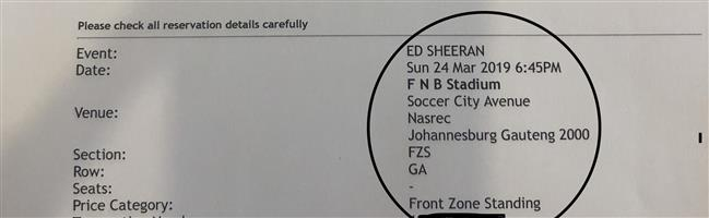 Ed Sheeran tickets 24th March JHB Front Zone Standing