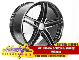 20 inch BK5252 5-112 MB-M Alloy Wheels - 5x112 pcd - 35-45 offset - CB66.6 - 8.5 and 9.5j width - sold as a set of 4 suitable for Merc, VW, Audi etc...