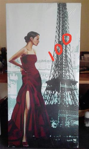 EIFFEL TOWER RED DRESS LADY ON CANVAS FOR SALE