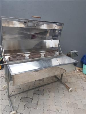 Motorized, gas, Stainless steel Lamb spit