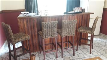Wooden Bar with Stools