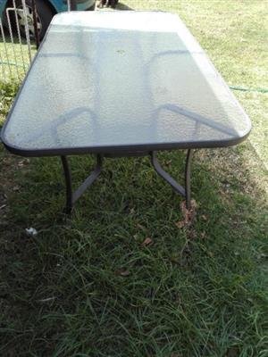 GLASS PATIO TABLE AND CHAIRS
