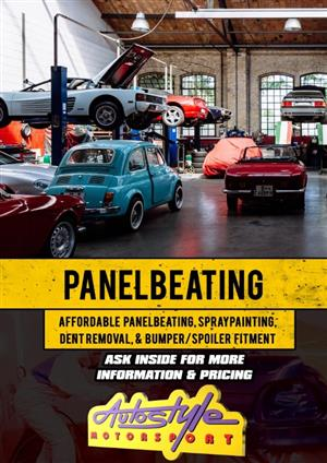 We now offer Panelbeating, spraypainting, paintless dent removal at affordable prices. Huge saving if uninsured.