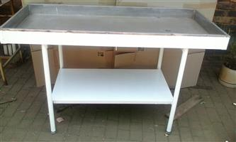 Stainless Steel Top Table with drain hole and under table