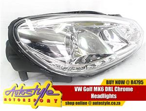 VW Golf MK6 DRL Chrome Headlights sold as a pair suitable for Volkswagen Golf GTI etc