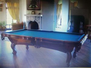 Solid carved wood, slate pool table