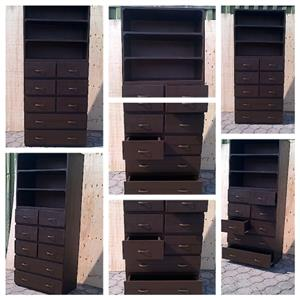 Chest of drawers Cottage series 2300 with open shelving - Stained