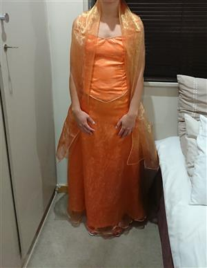 Beautiful orange matric dress or evening