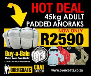 Buy Adult Anoraks for only R2590 BUY A BALE. MAKE YOUR OWN CASH.