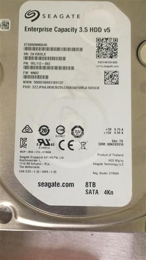 8TB Seagate Hard Drive - 100% Health